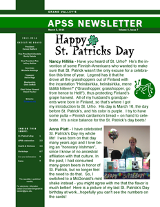 March 2014 Newsletter First Page