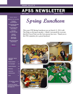 April 2014 Newsletter First Page